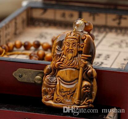 Habitat bliss natural yellow tiger's eye necklace crystal jewelry men pendant Lucky evil sword Guan Gong