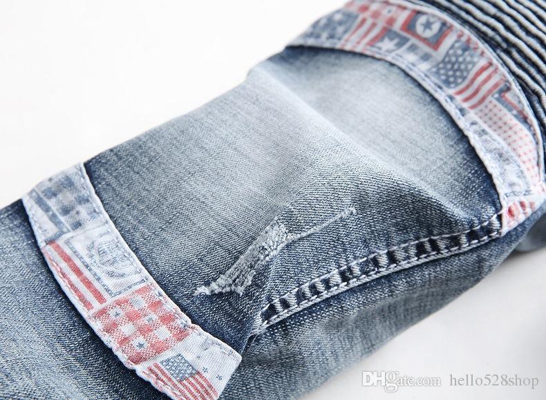 Vintage Moda Kot Pantolon Erkek Kırışıklık Tasarım Streç Pantolon Erkekler için Ince Düz Kot