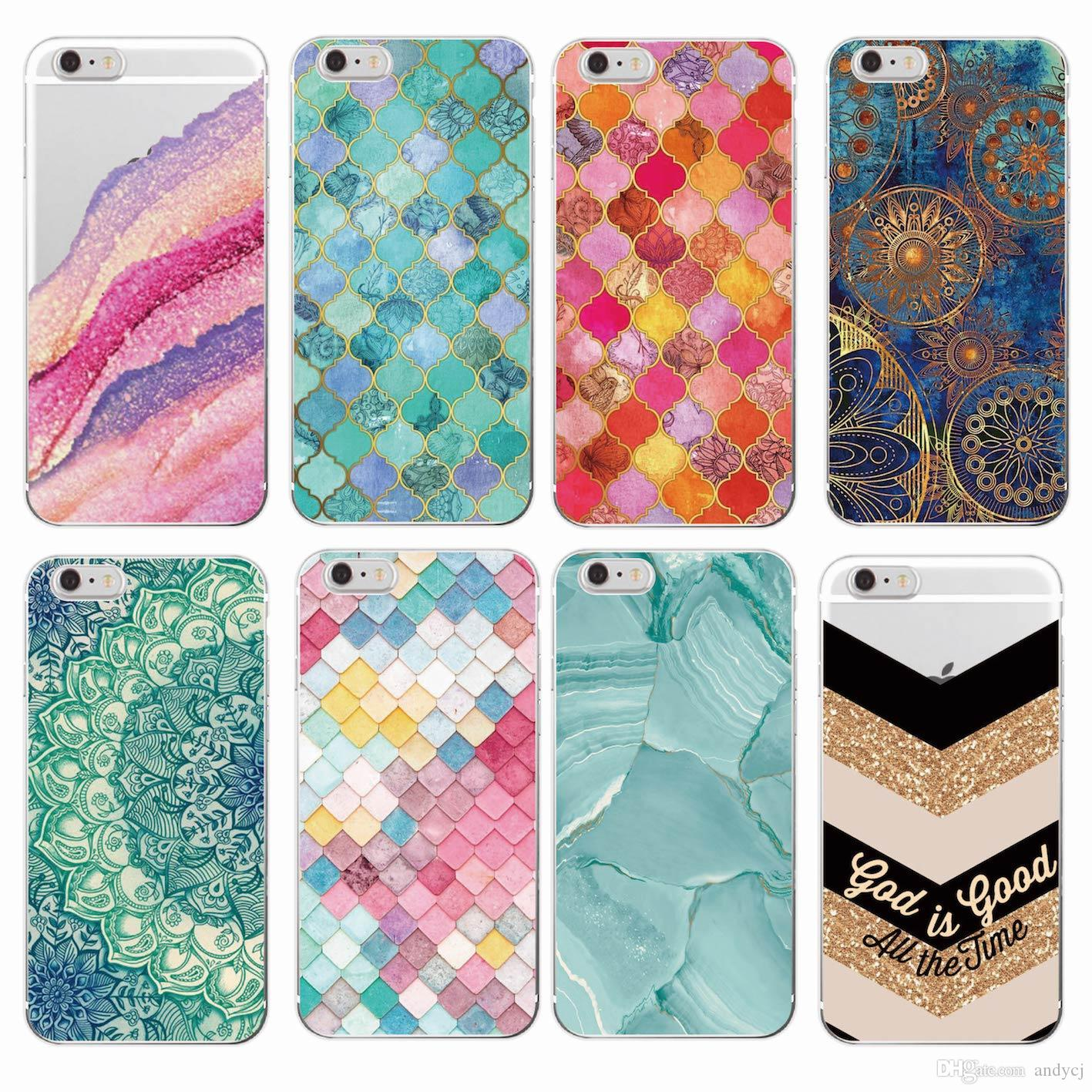 Marble Moroccan Pattern Circular Stars Golden Texture Mermaid Soft Phone Case For iPhone 7Plus 7 6 6S 6Plus 5 8 8Plus X SAMSUNG