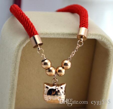 Koreanische Version der 18K-Roségoldkatzen-Liebes-Serie rotes Seil-Wohltätigkeitsarmband-Paarschmucksachen
