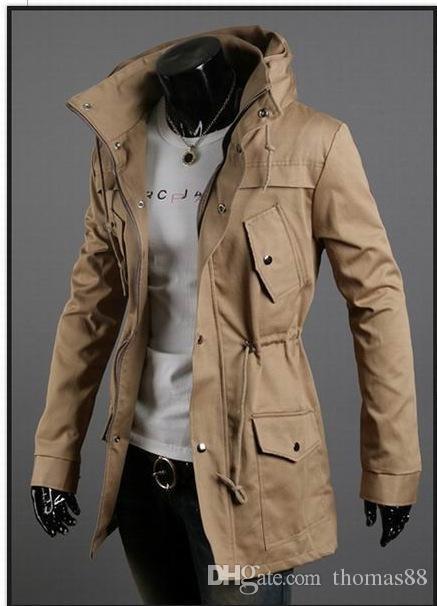Atacado Trench Coat Frete Grátis dos homens Casaco Longo de Alta Qualidade Blend Shoulder Trench Cintura Com Cordão 4 cores frete grátis