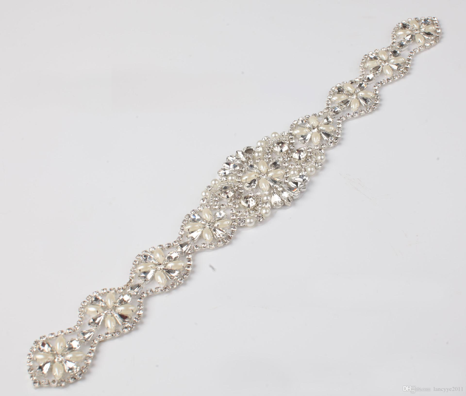 e33f823a4f (1piece) Handmade Beaded Sew On Hot Fix Iron On Sliver Crystal Rhinestone  Applique for Wedding DIY Bridal Sash Headbands Garters