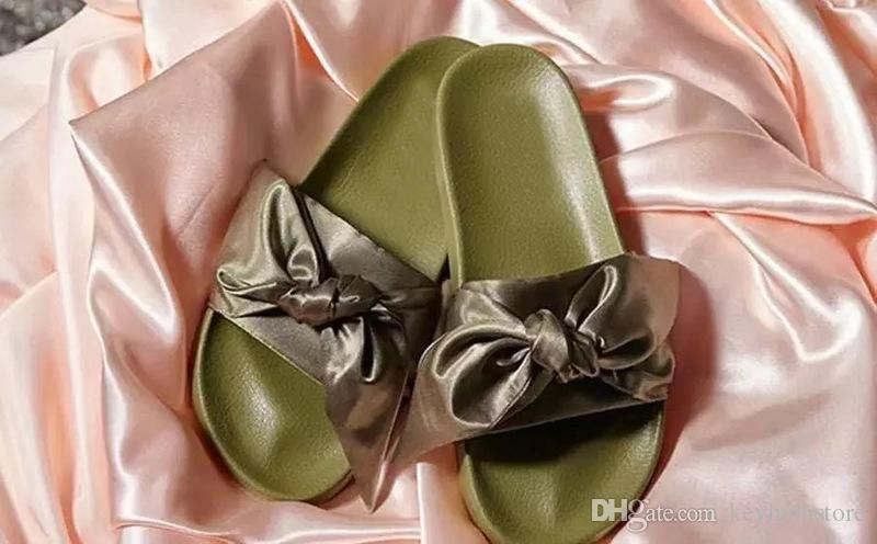 d38e04834d46 2017 New Arrival Womens Fashion Bow Knot Causal Slide Sandals Rihanna  Bandana Olive Green Satin Slide Slippers Bridal Shoes Cheap Shoes From  Kevindhstore