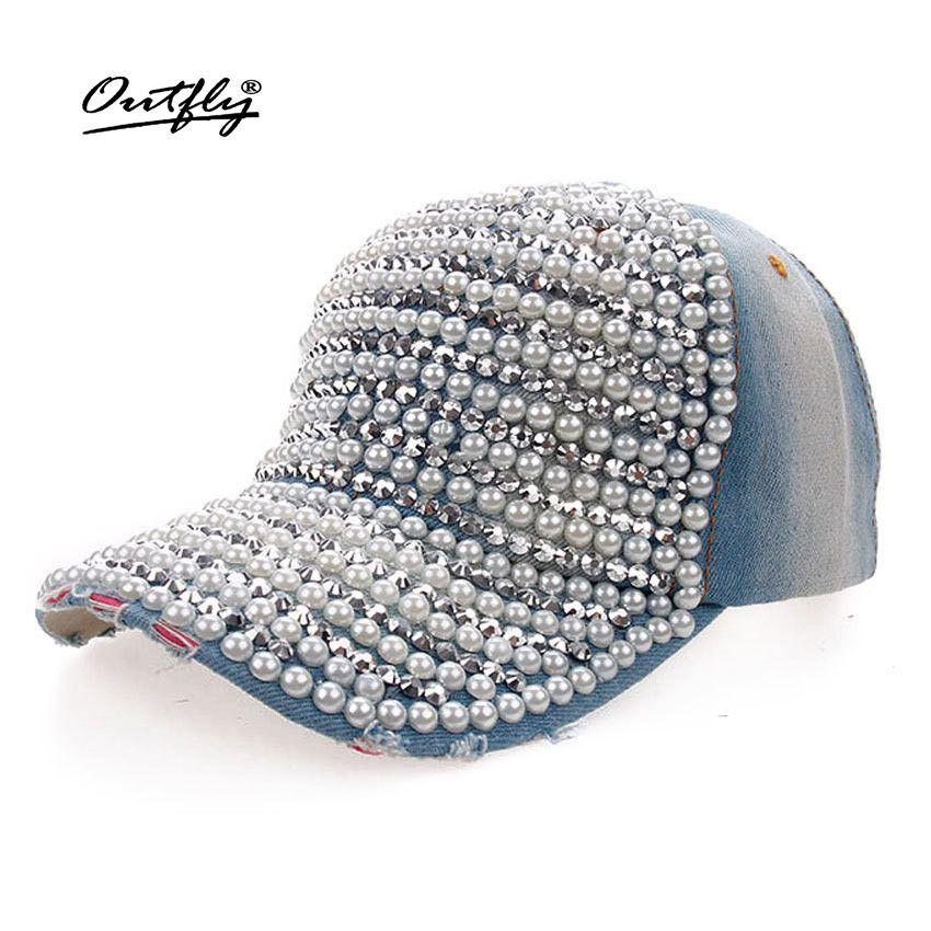 c1f6cbf9b00af Wholesale Fashion Diamond Pearl Cowboy Hat Women Denim Snapback Baseball Cap  Female Casual Cap Summer Cap Rhinestone Leisure Jean Hat Flexfit Caps Cap  Store ...