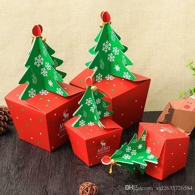 christmas tree paper gift box diy cookie cholocate food boxes merry christmas candy box apple packaging box kids gift wrapping paper kids wrapping paper - Christmas Candy Boxes