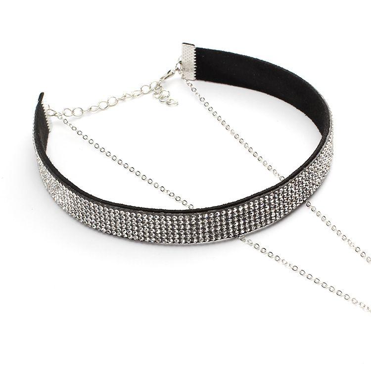2017 Girocollo collana di velluto coreano multistrato collana nappa diamante pieno collane girocollo collare di cristallo la signora della moda