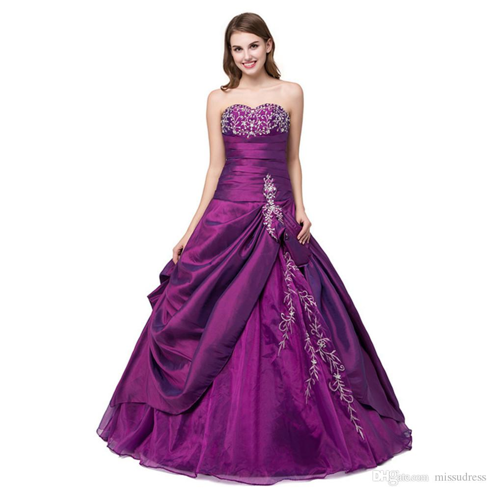 9438fd55f00 Sweetheart Purple Cheap Prom Dresses Ball Gown Taffeta Organza Prom Dresses  Long Lace Up Embroidered Girl S Pageant Dress Feather Prom Dresses Glam Prom  ...