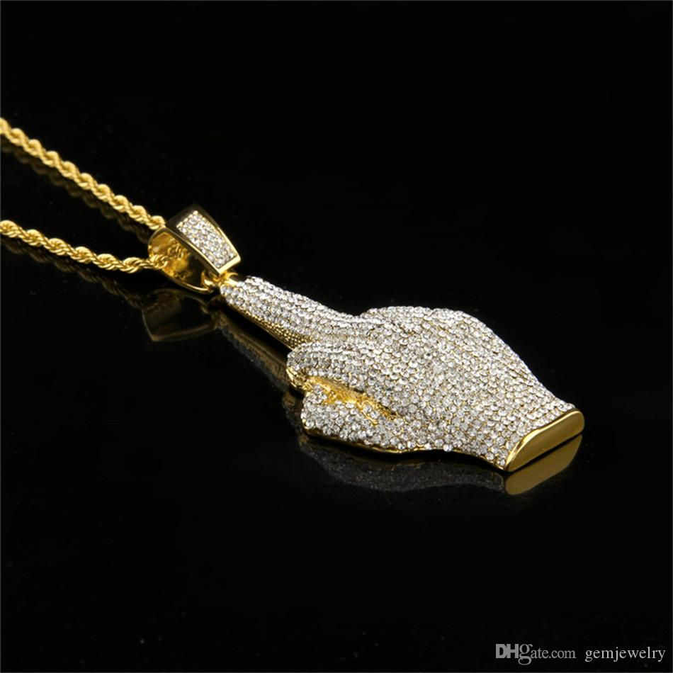 Men's Hip Hop Gold Big Hand Finger Pendant Luxury Full Crystal Rhinestone Alloy Pendant Necklace Fashion Punk Jewelry