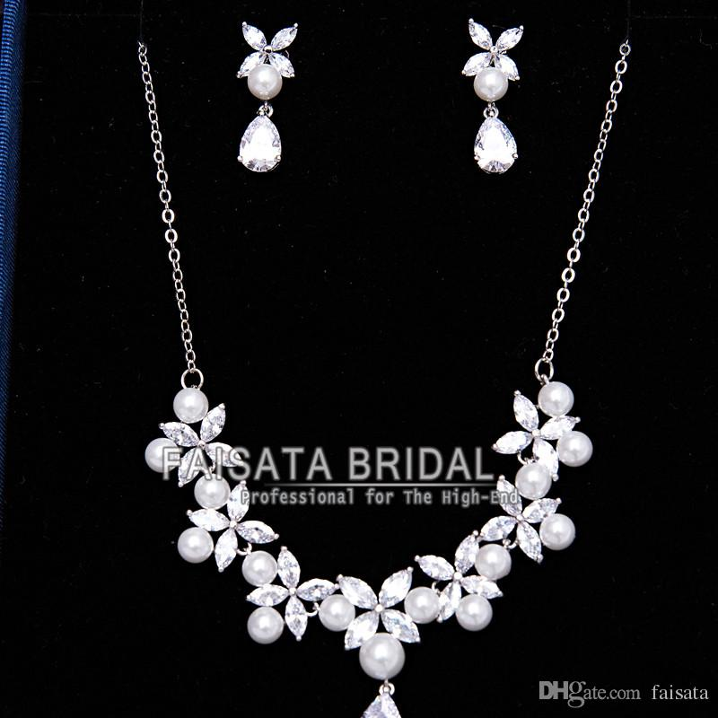 Mecresh Luxury Simulated Pearl Wedding Jewelry Sets Bridal Necklace Earrings Tiara Sets Hot Selling Women Party Gift 2017 New Arrive