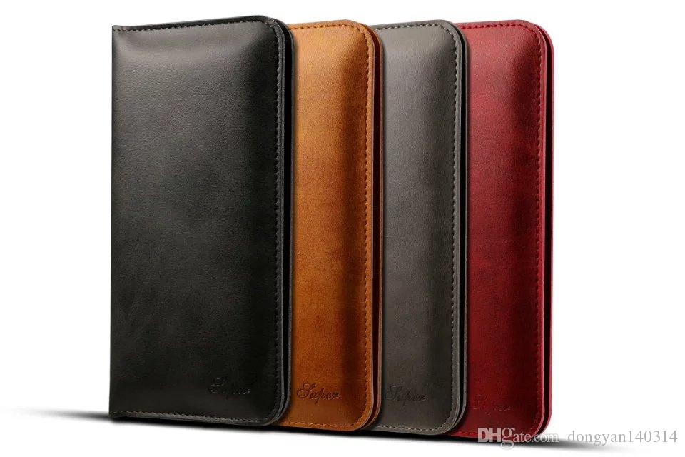 """Hot selling Multifunctional PU Leather Calf Skin Card Holder Wallet Case Bag for 4.7""""-5.5"""" iPhone 7 6S Samsung Sony HTC"""