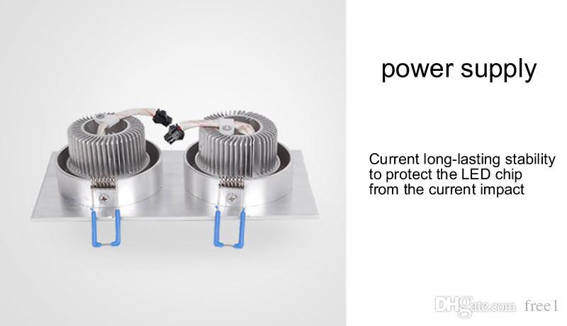 Nuevo Cáscara de plata cuadrada 9w 2 * 9w Focos empotrables de LED regulables AC90-260V CRI85 Nature White 4000K + Drivers CE UL SAA