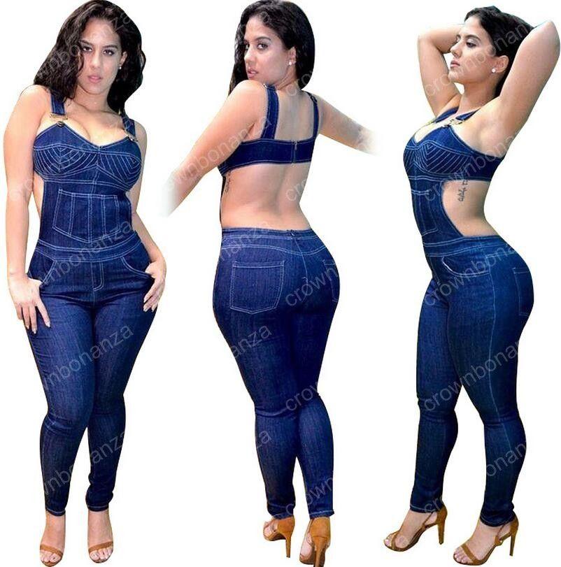 2018 plus size denim jumpsuit women overalls summer sexy backless