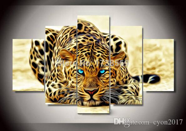 5 panel Wall art picture Modern Home Decoration canvas Print Leopard panther oil painting printed on canvas for living room