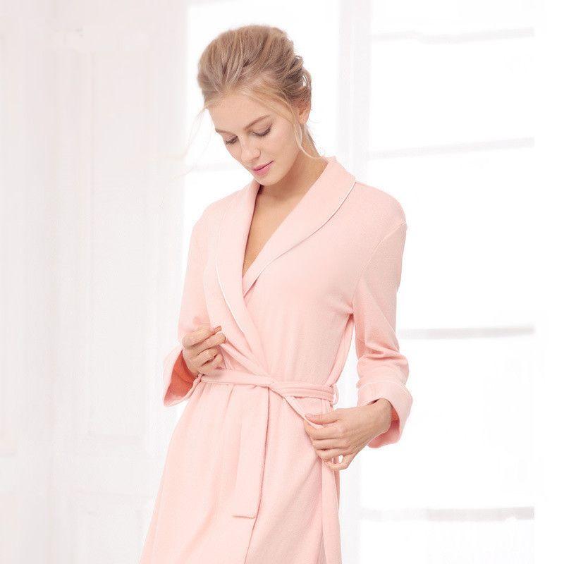 Wholesale Women Bathrobe V Collar Knitted Cotton Dressing Gown Sexy Wedding BathRobe  Long Sleeve Cotton Kimono Robe Sexy Home Bath Robe UK 2019 From Oott 2b1c4b1e89