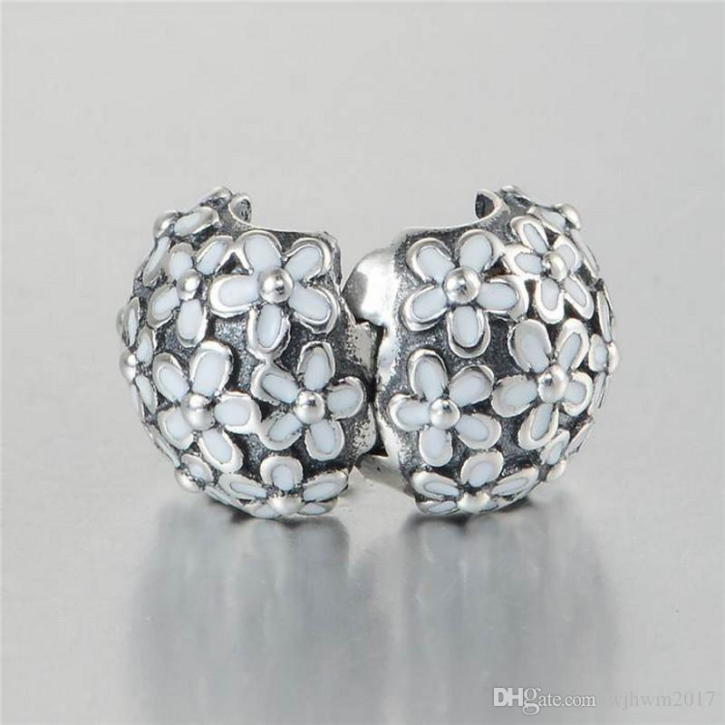 Daisy Flower Clip Charms Bead Authentic 925 Sterling-Silver-Jewelry White Enamel Stopper Lock Beads DIY Brand Bracelets Accessories