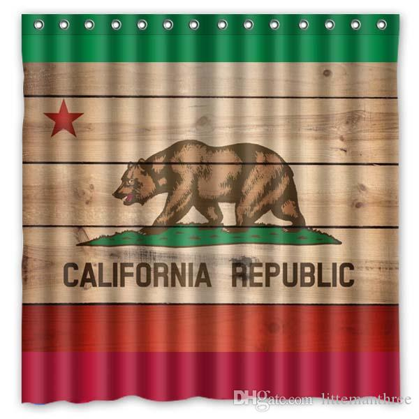 2019 California States Flag Seal Design Shower Curtain Size 180 X Cm Custom Waterproof Polyester Fabric Bath Curtains From Littemanthree