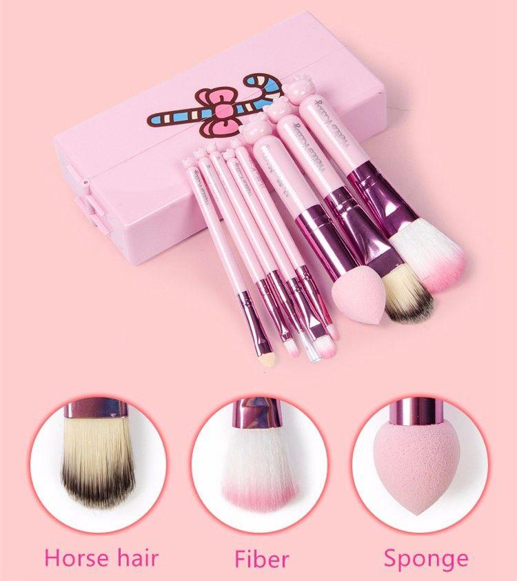8 pezzi / set Hello Kitty Makeup Brushes Set Foundation Brush Eye Shadow Cosmetici Make up Kit di strumenti di pennello con scatola a specchio