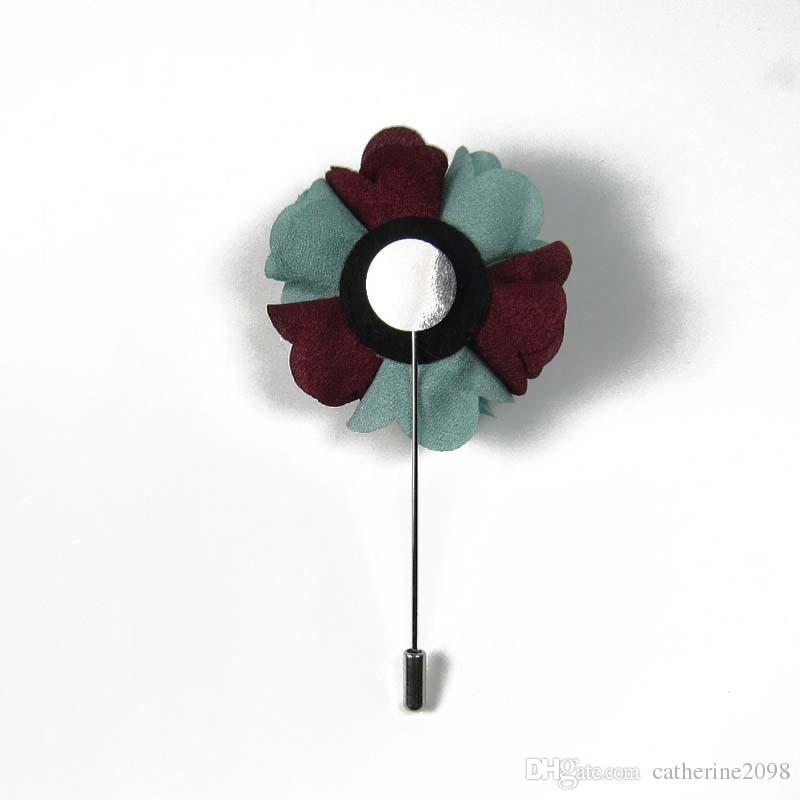 Neueste 5 cm Männer doppel farbe stoff blume stick pin revers pin brosche pins 12 teile / los 14 farbe für ihre wahl Freies verschiffen