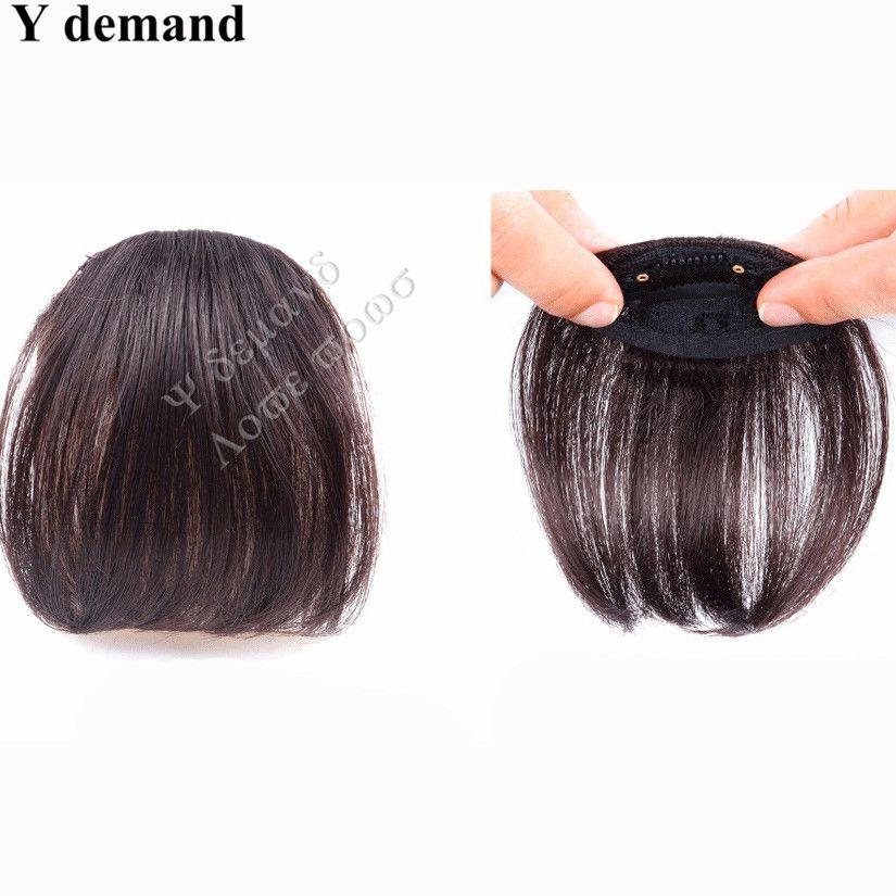 Bande de cheveux faux cheveux naturels Bang noir / brun clair / brun foncé Clip sur Bangs Frange de cheveux synthétiques 3 couleurs Fashion Y demande