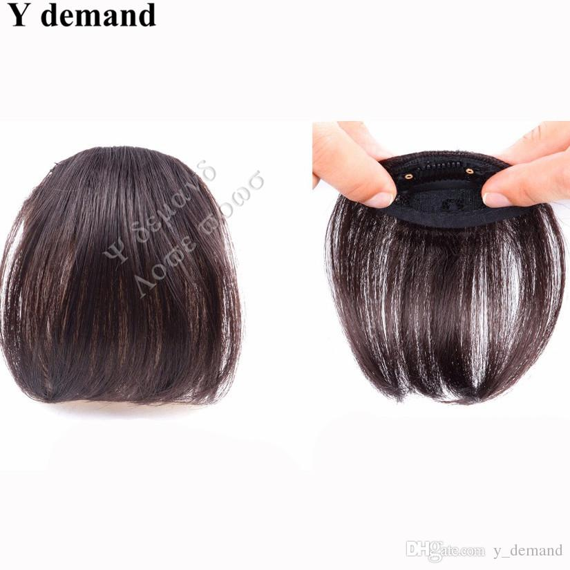 Natural Bang False Hair Bangs Nero / Marrone chiaro / Marrone scuro Clip in Bangs frangia capelli sintetici i Fashion Y demand