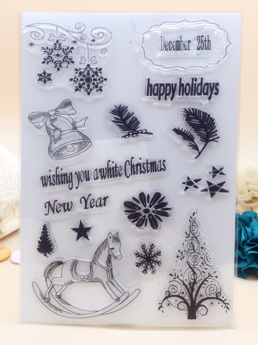 Wholesale- 21x14.8CM Happy Holiday Gift Clear Transparent Stamp DIY ...