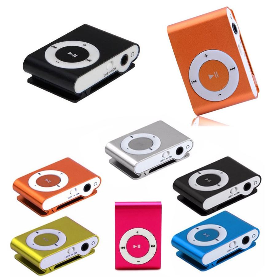 NEW Fashion Mini Cheap Clip Digital Mp3 Music Player USB with SD card Slot black silver mixed colors include earphone and charger
