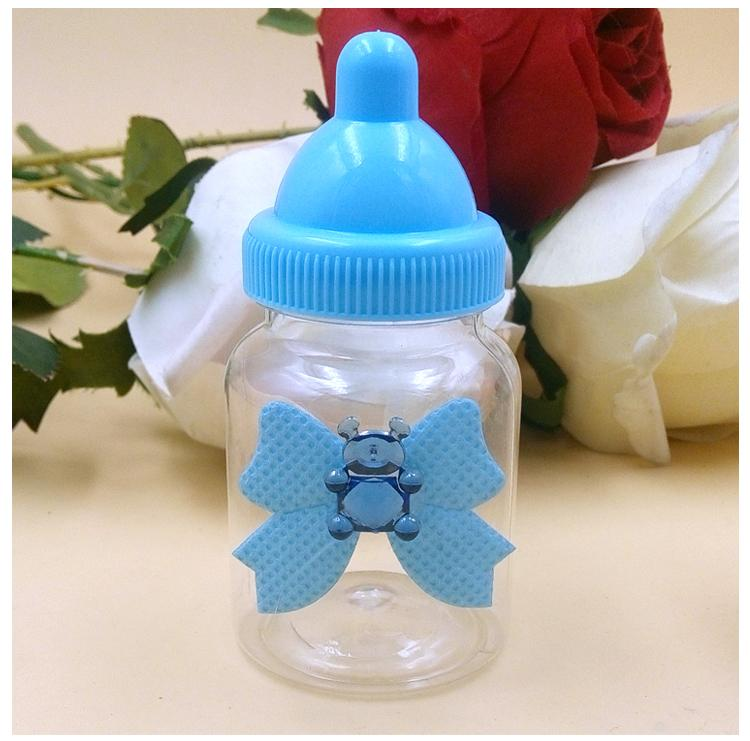 New Arrival Baby Shower Favors Milk Bottle Candy Box With Bear Lace For Table Decorations
