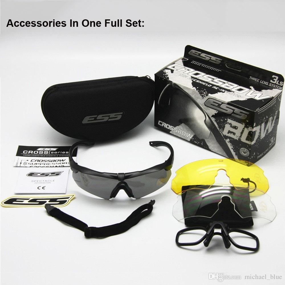 ESS CROSSBOW 3 Lens Set Shooting Goggles Army táctico Bulletproof Glasses Eyewear Deportes al aire libre Anti UV400 Gafas de sol