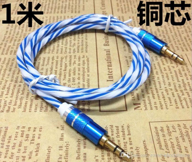 3.5mm Stereo Audio AUX Cable Wire Auxiliary Dual Color Cords Jack Male To Male M /M 1M/3FT For iPhone 6S Samsung S7 Mobile Phone