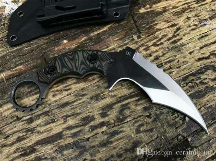 Nuovo Le 49ks artiglio karambit piena coltello linguetta D2 lama in acciaio una A +++ G10 maniglia fredda progettare lame di campeggio esterne utensile da taglio