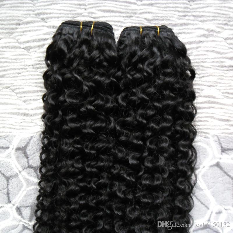 Переплетения пучки черные человеческие волосы монгольский кудрявый вьющиеся волосы переплетения пучок 200 г бразильский вьющиеся девственные волосы переплетения пучки 2 шт.