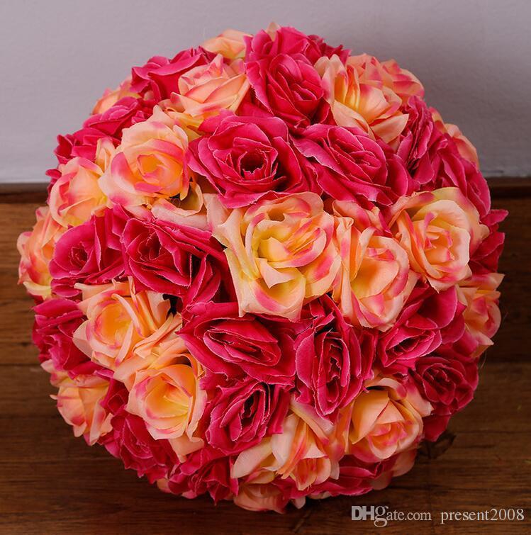 25 cm 10 polegadas criptografia artificial rosa flor de seda beijando bolas pendurado bola enfeites de Natal decorações de festa de casamento suprimentos