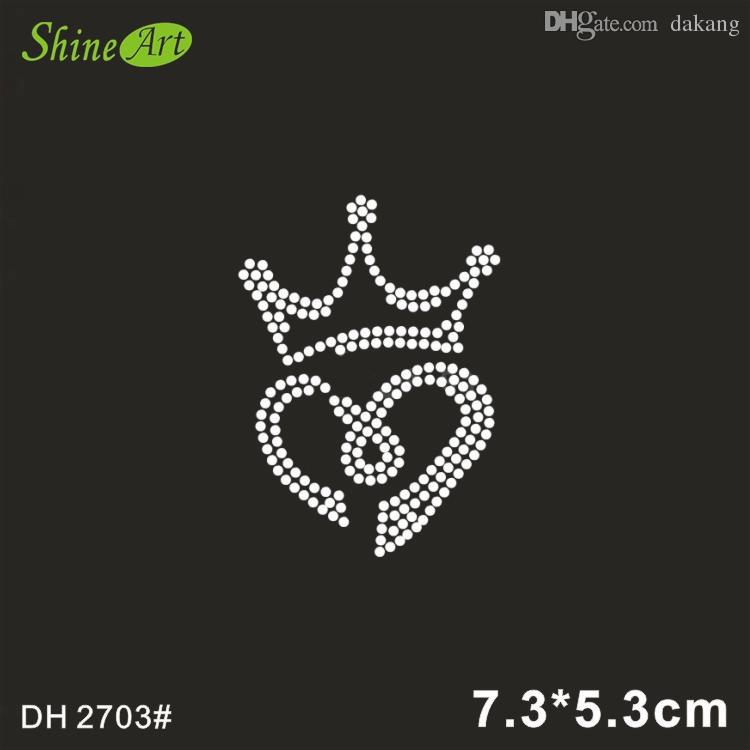 Small crown and heart applique hot fix rhinestone transfer motifs iron on crystal transfers design shirt bag DH2703#