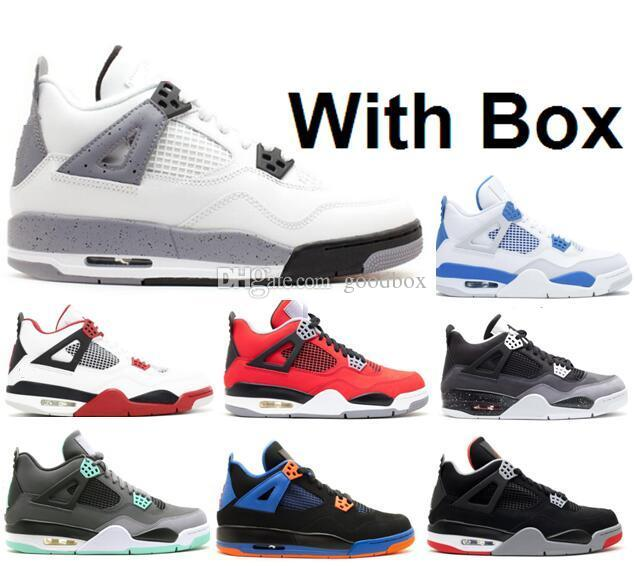 d7fbbd309ee916 Wholesale White Cement 4s Fire Red 4 Green Glow Oreo FEAR TORO BRAVO ABOVE  With Box Best Quality Basketball Shoes Sports Shoes Online Jordans Sneakers  From ...