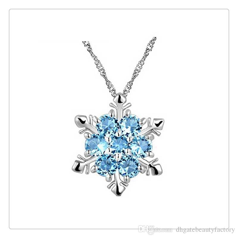High Quality Women Fashion Jewelry Sterling Silver Necklace Blue Rhinestone Snowflake Pendant With Blue Pendant Christmas Gift