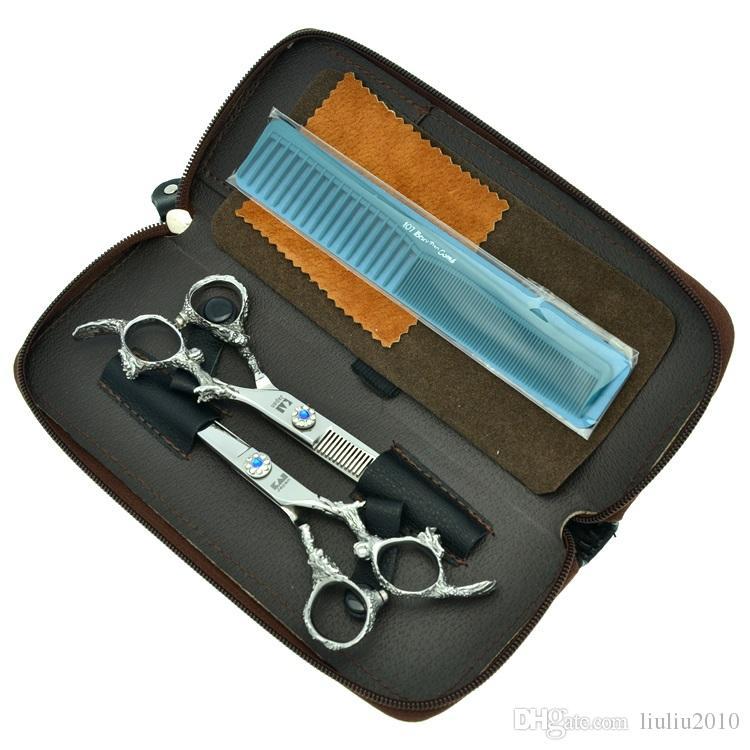 Kasho 6.0Inch Blue Rhinestone Japan 440c Cutting & Thinning Tijeras Professional Hairdressing Scissors Set Barbers Hair Shears Kits LZS0138