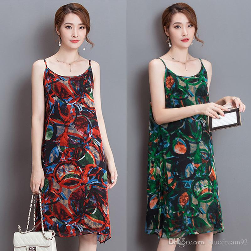 Loose Formal Dresses Printing Silk Chiffon Plus Size Long Dresses
