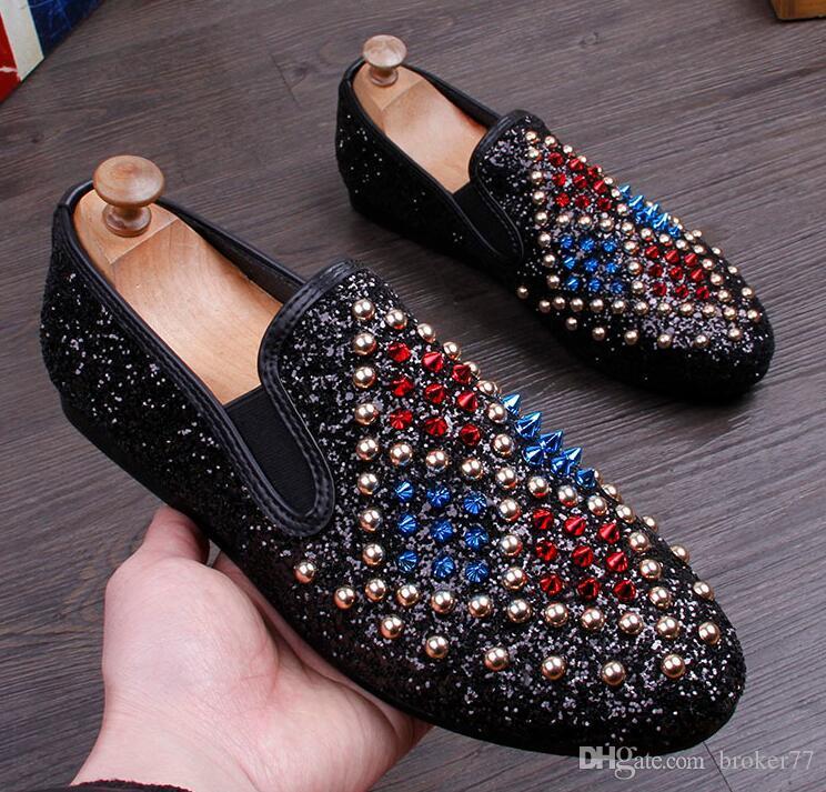 2017 New Arrival Men Glitter Studded Rivet Spike Casual ShoeS Flats ... b28f97334d6e