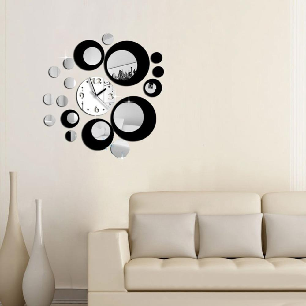 Wholesale- Modern Circles Acrylic Mirror Style Wall Clock Removable Decal Art Sticker Decor