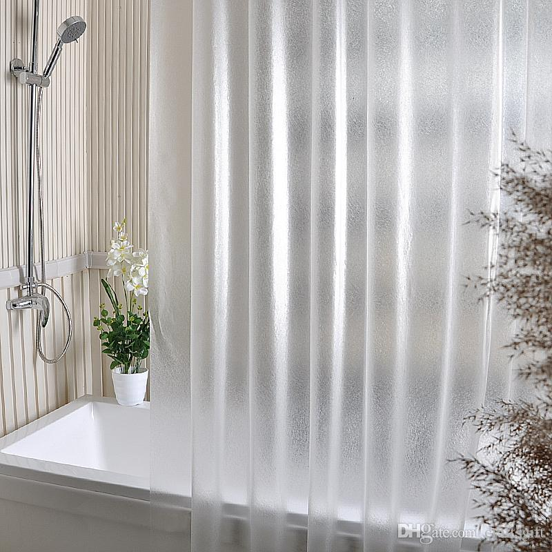 PEVA Shower Curtains Bath Shower Curtain Grind Arenaceous Translucent Solid Color Europe Mildew Proof Waterproof PEVA Fabric Multiple Sizes