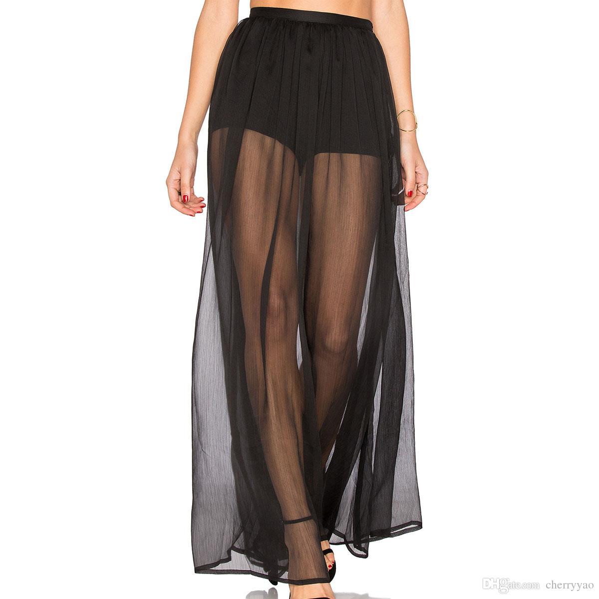 0beab583f3 Compre Mujeres Negro Tulle Transparente Maxi Faldas Largas Cintura Elástica  De Diseño De Alta Cintura 2017 Playa De Verano A La Túnica De La Ropa Jupe  Jupe ...
