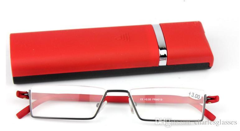 Einzelhandel 1 stücke TR90 lesebrille gehen mit fall für frauen tragbare mini presbyopie gläser rote farbe