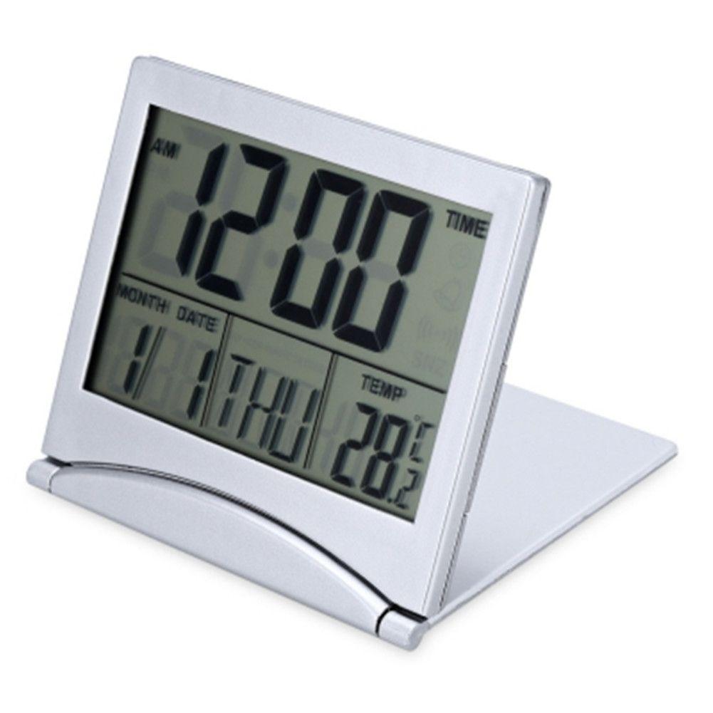 LED Alarm Clock Folding Digital LCD For Travel Temperature Calendar ...