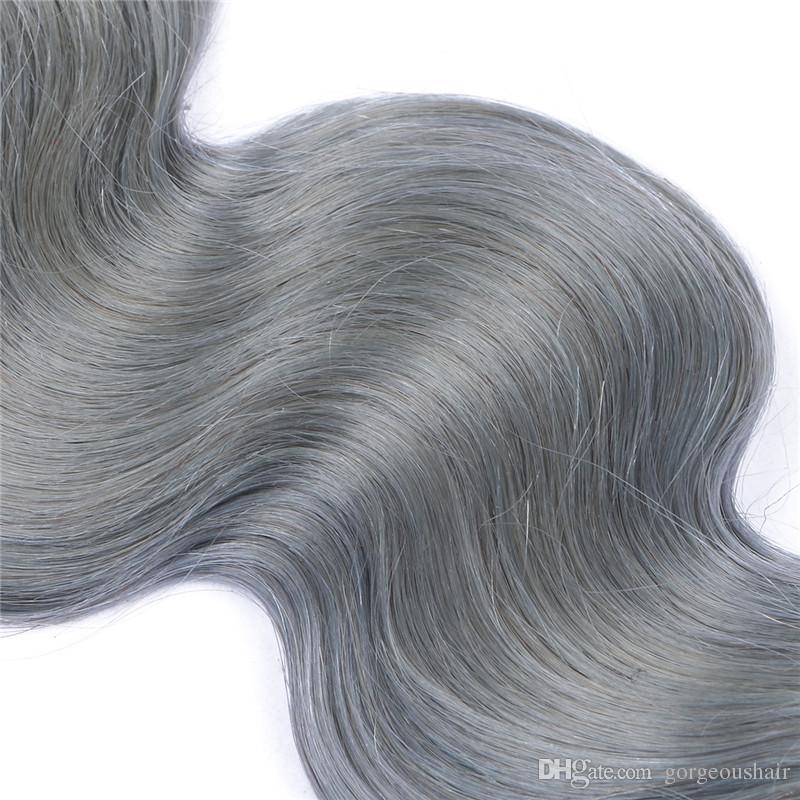 9A Bakire Brezilyalı 1B / Gri Ombre İnsan Saç 3 Adet Vücut Dalga Saç Uzantıları Koyu Kökleri Gümüş Gri Ombre Brezilyalı İnsan Saç Dokuma Demetleri