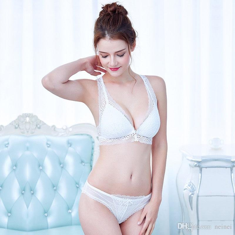 06db7b4e548 2019 White Black Deep V Neck Front Button Push Up Intimates Lace Wire Free Women  Bra Set Sexy Beauty Back Underwear Panties From Neinei, $13.51 | DHgate.Com