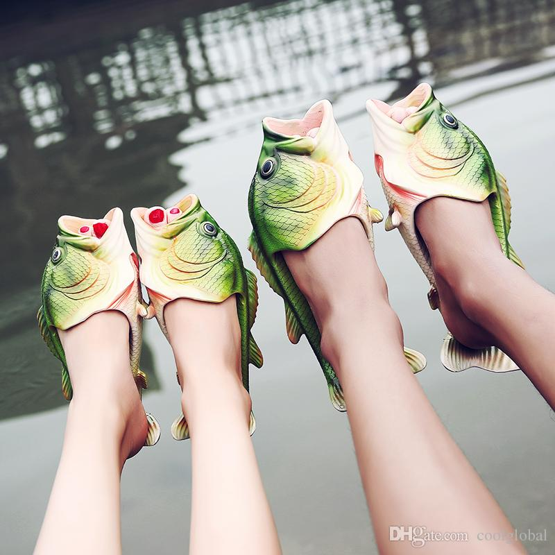 ca0a139b9d8 2017 Creative Type Fish Slippers Woman Men Kid Handmade Personality Fish  Sandals Women Bling Flip Flops Slides Fish Beach Slippers Red Boots Pink  Shoes From ...