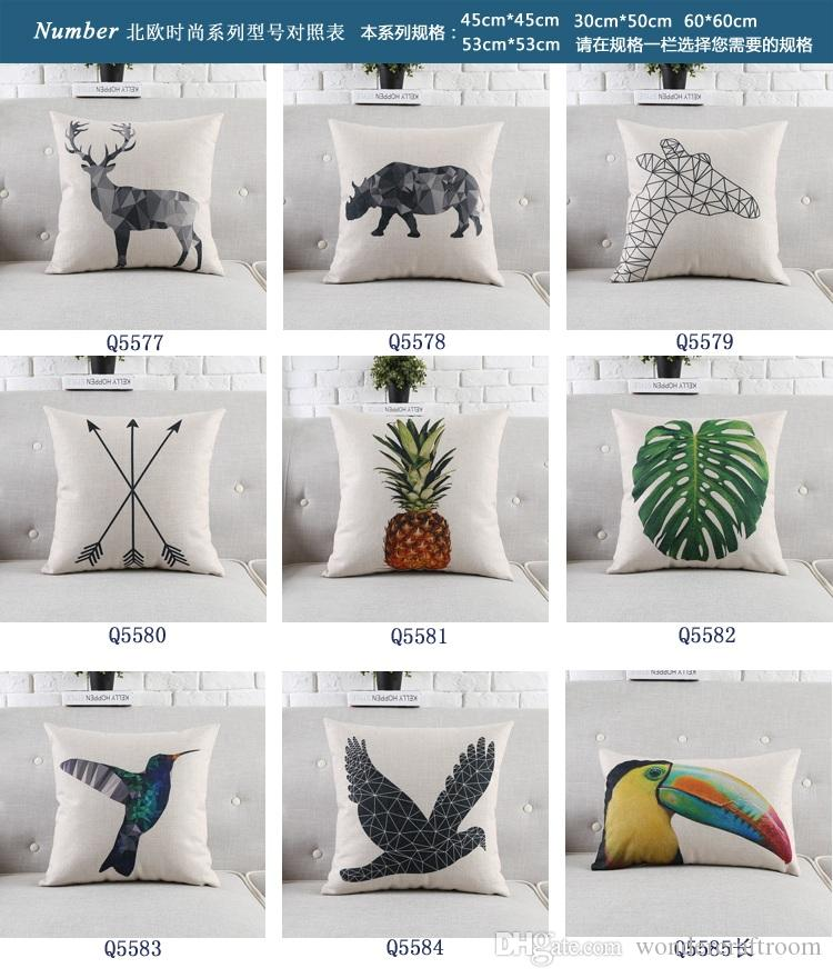 Green Plants Leaves Pineapple Cushion Covers Nordic Geometric Triangles Deer Elk Bird Toucan Pillow Cover Sofa Seat Linen Cotton Pillow Case
