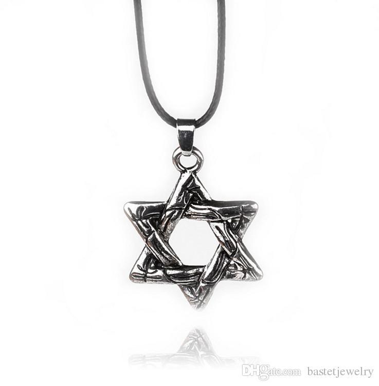 Chaude Nouveau Magen Star de David Pendentif Collier Étoiles Colliers pour Femmes / Hommes Collier En Cuir Israël Juif Bijoux