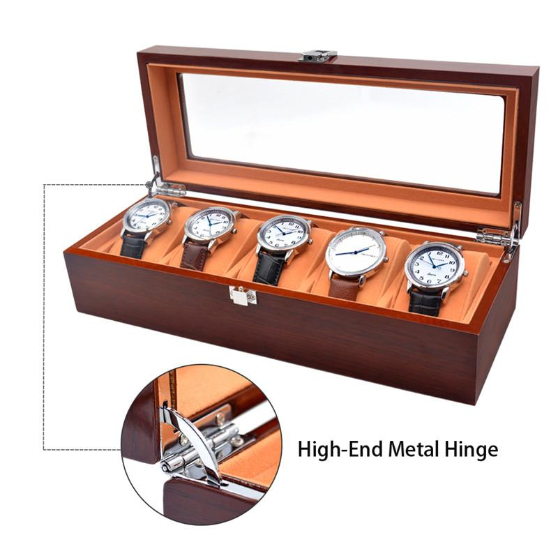 Watch Box Luxury Solid Wood Rosewood Watch Box 5 Grids Watch Case Display Packaging Gift High Quality Box for Watches
