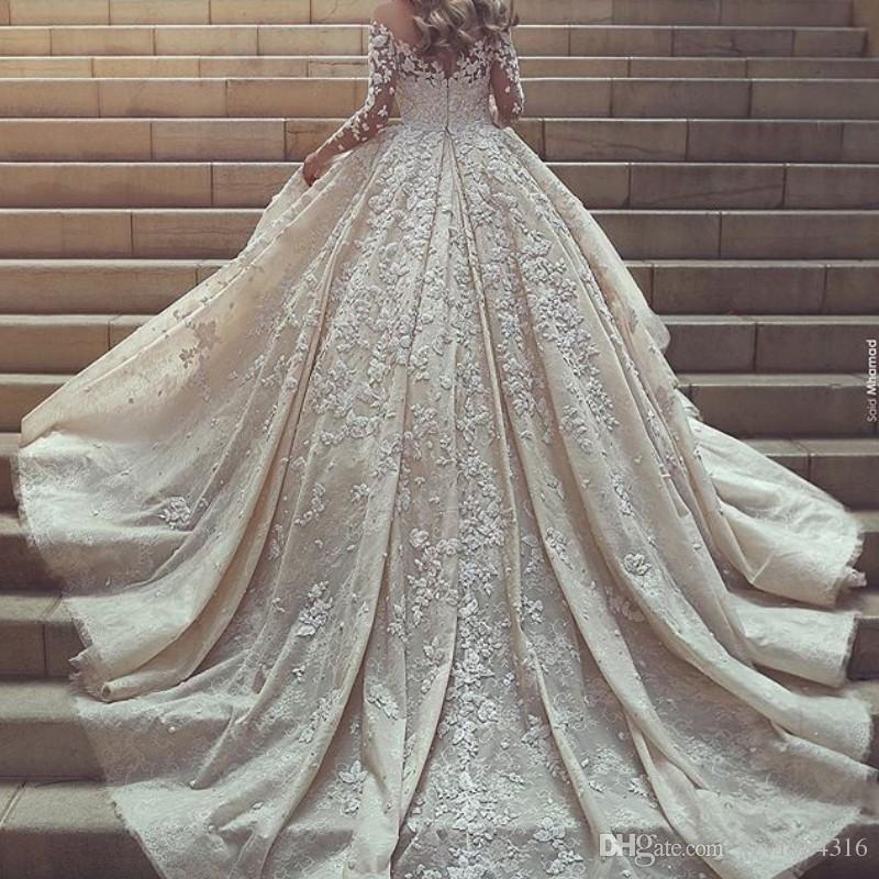 Said Mhmad Glamorous Wedding Dress Sheer Jewel Neck Applique Long ...